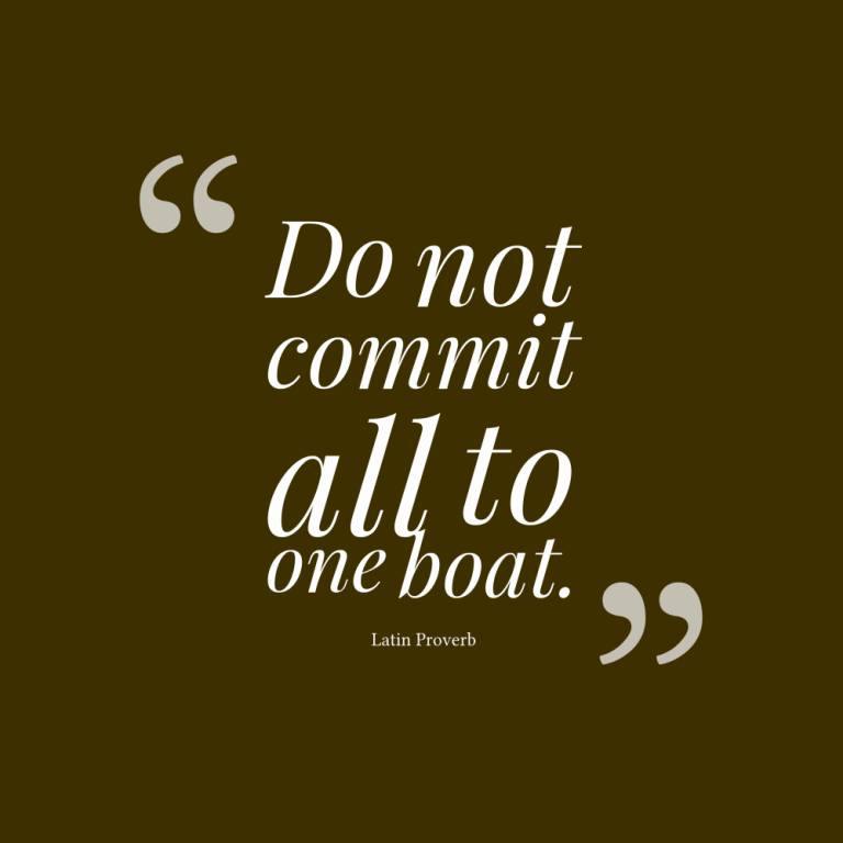 Do not commit all to one boat - Latin Proverb