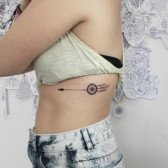 Arrow Rib Tattoos And Photo Ideas Page 40 Fascinating Dream Catcher Tattoo On Rib Cage