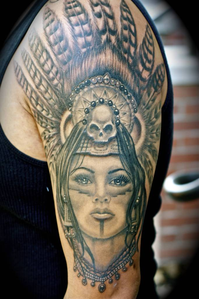 popular aztec women tattoo design for men sleeve photos and ideas. Black Bedroom Furniture Sets. Home Design Ideas