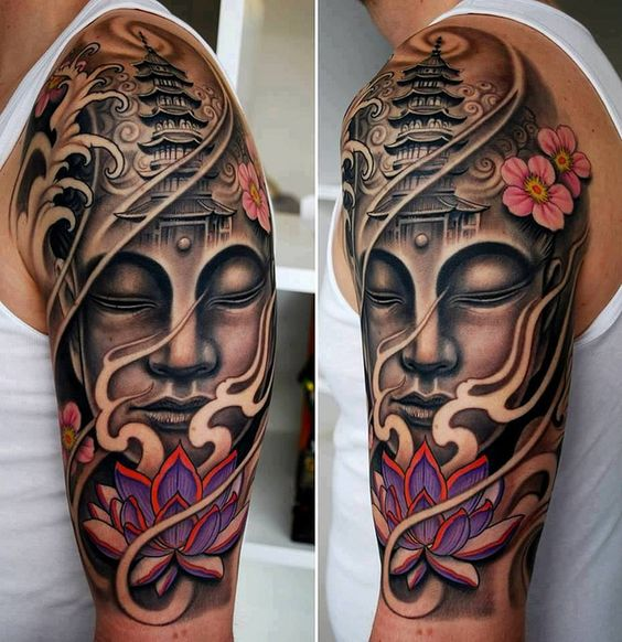 Grey Ink Buddha Face And Asian House Tattoo On Sleeve