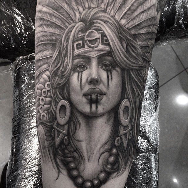 Grey Ink Famous Aztec Women Queen Tattoo Design Made On Sleeve