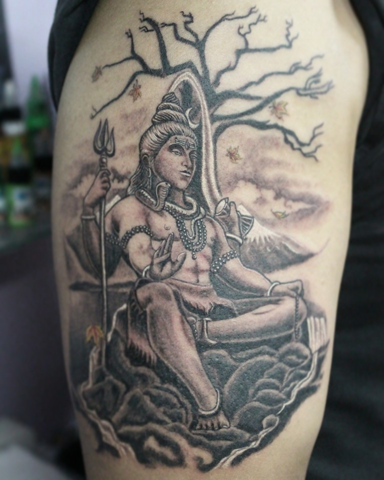 Grey Ink Lord Shiv And Trishul Tattoo With Dry Tree On Quarter Sleeve