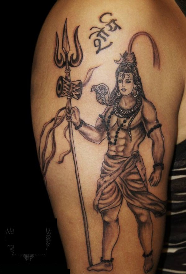 Grey Ink Lord Shiv Trishul And Pellet Drum Tattoo On Men Sleeve
