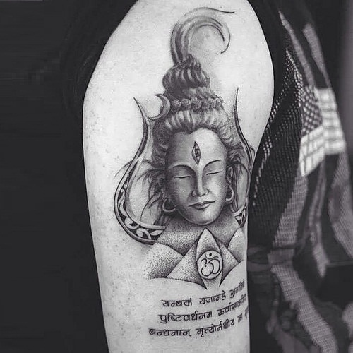 Grey Ink Meditating Shiv With Trishul And Om Sign Tattoo On Sleeve