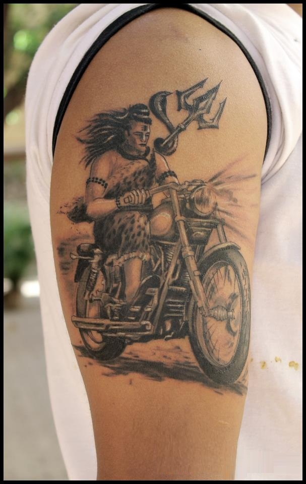 Grey ink tattoo of lord shiv with trishul riding a bike for Lord shiva tattoo