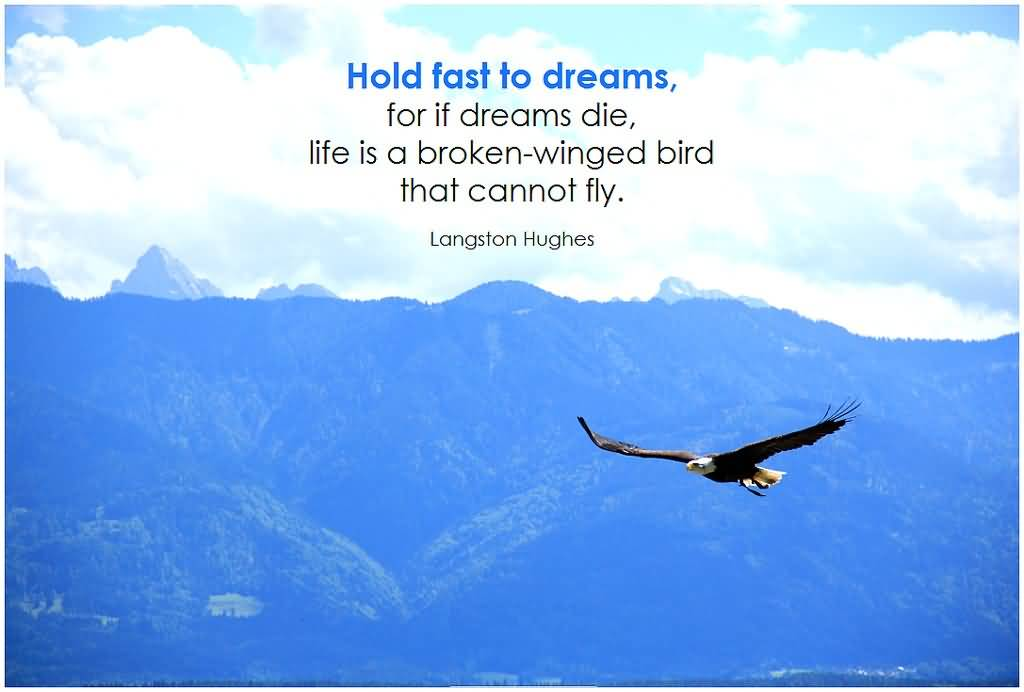 Hold fast to dreams, for if dreams die, life is a broken-winged bird that cannot fly. Langston Hughes