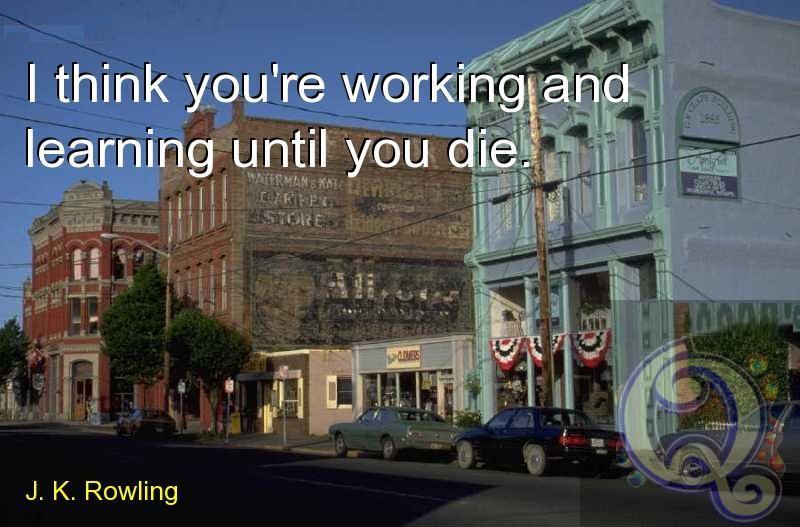 I think you're working and learning until you die. J. K. Rowling