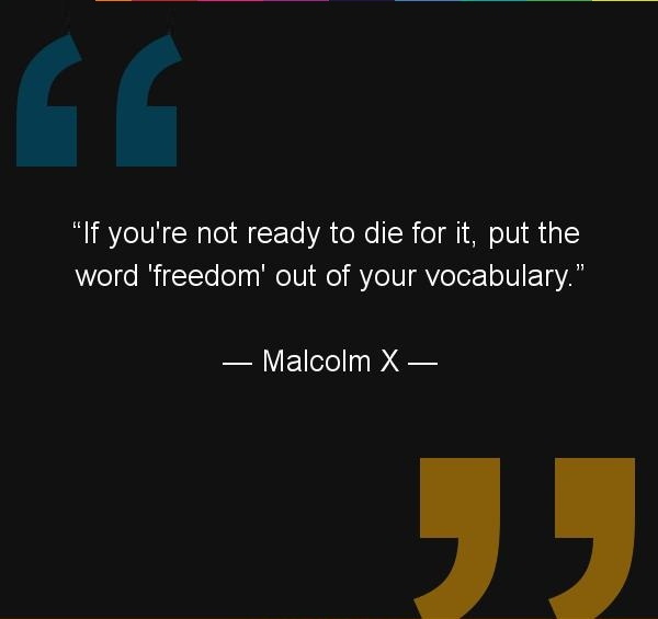 If you're not ready to die for it, put the word 'freedom' out of your vocabulary. Malcolm X