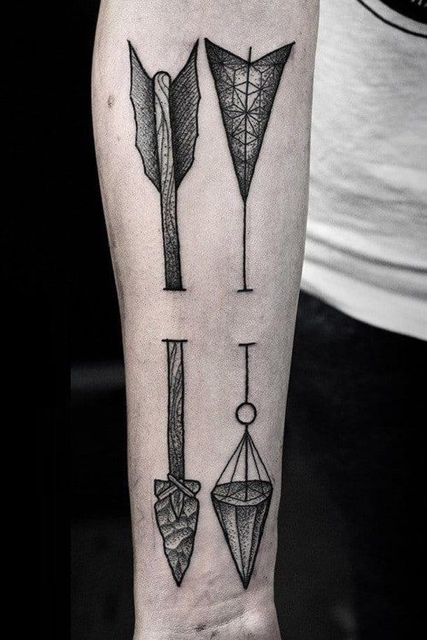 Incredible Tattoo On 3D Arrow For Men Sleeve