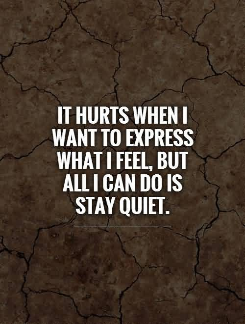 It hurts when i want to express what i feel but all i can so is stay quiet