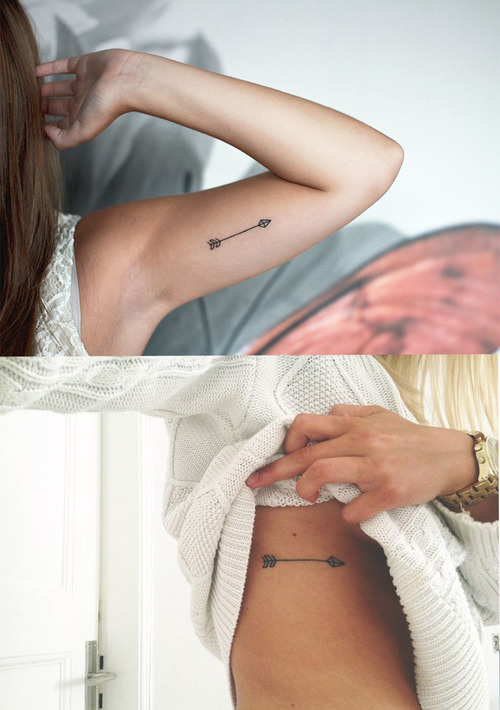 Passionate Women Show Amazing Arrow Tattoo On Ribs