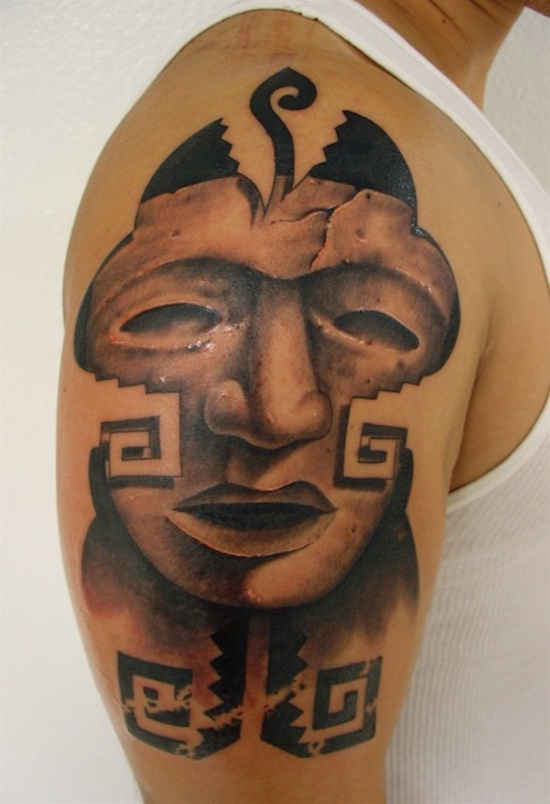 Popular Arm Tattoo Of Aztec Men Face With Pattern