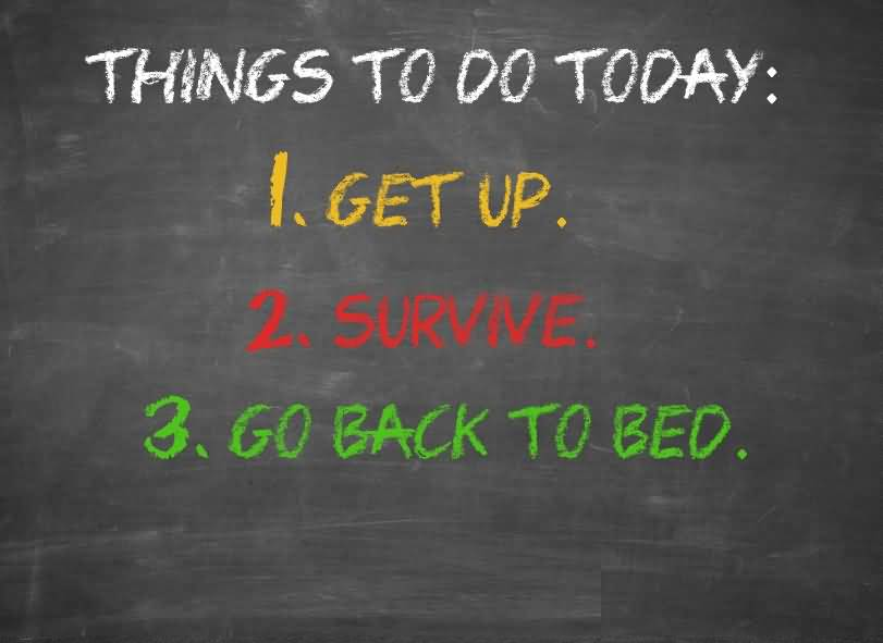 Things to do today get up survive go back to bed