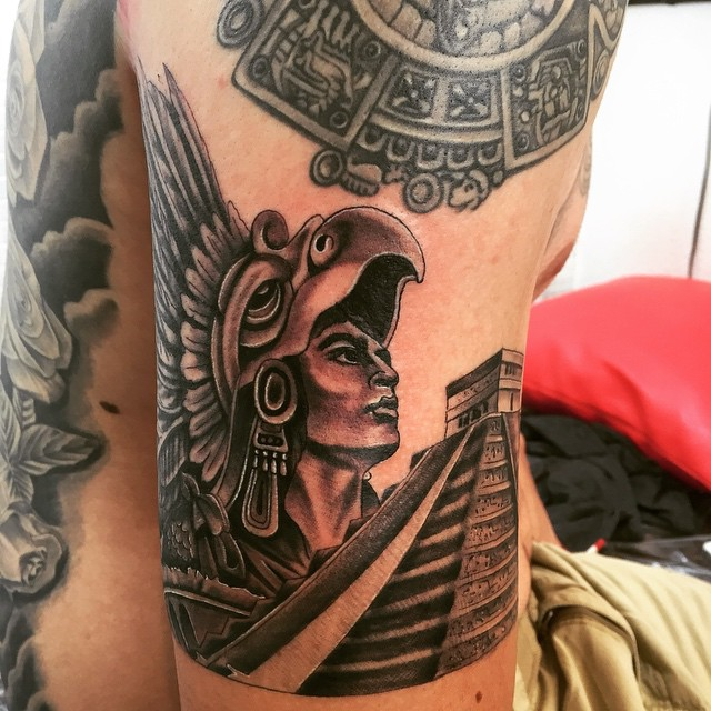 Trendy Aztec Arm Tattoo Of Pyramid And King With Eagle Mask