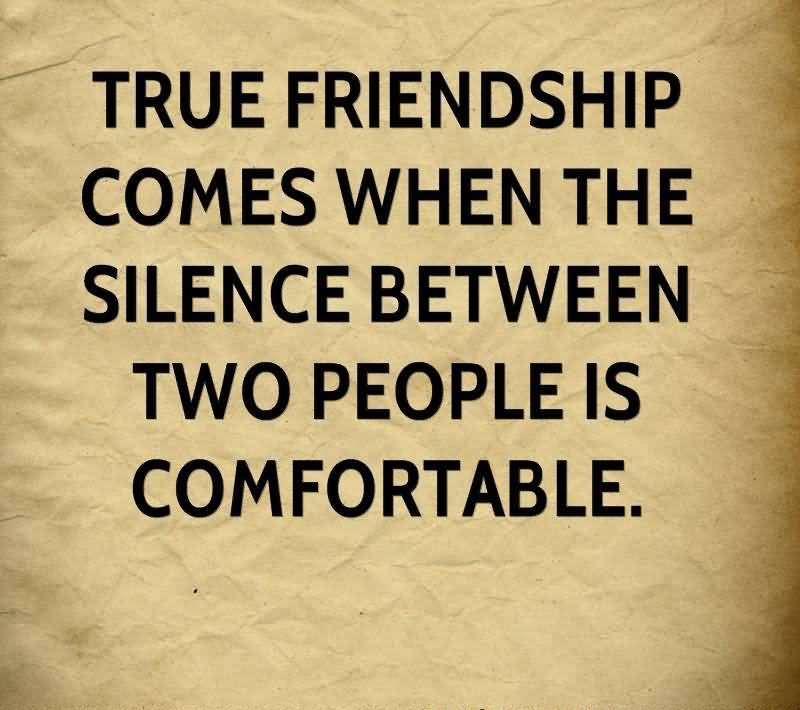 True Friendship Is When You Understand The Silence Of Each Person