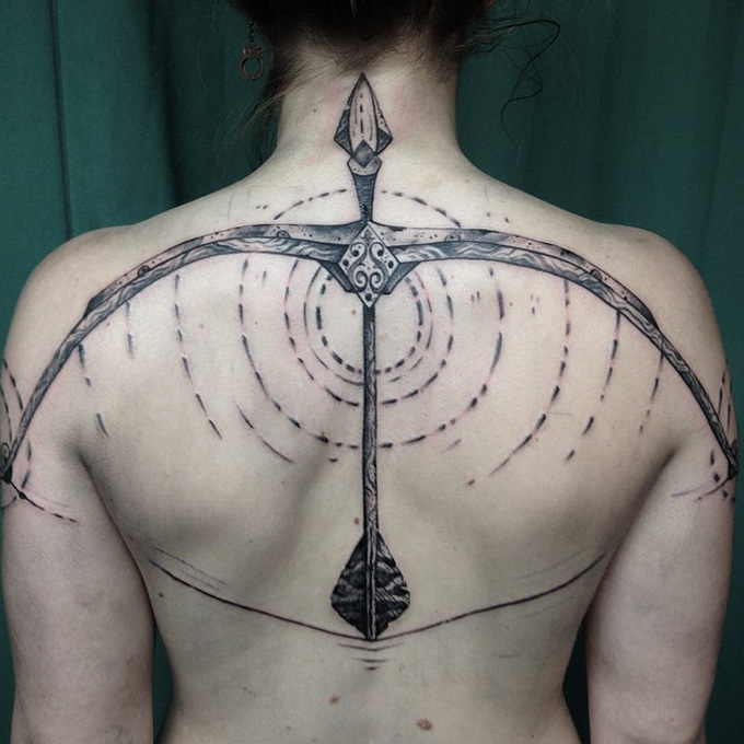 Whole Back Cover Up With Perfect Bow And Arrow Tattoo