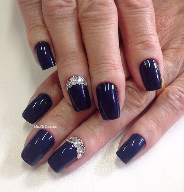 Gorgeous Navy Blue Nail Art Designs, Photos and Ideas - Goluputtar.com