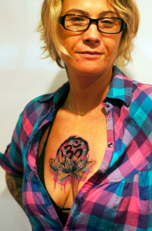 Colorful Om And Lotus Folwer Tattoo On Women Chest