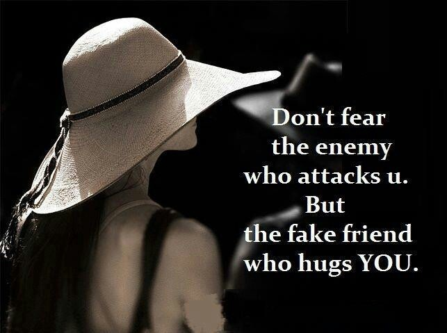 Don't Fear the enemy who attacks u. But the fake friend who hugs you