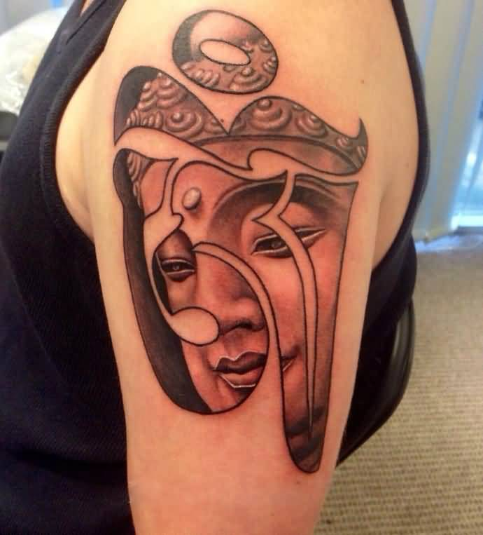 Grey Ink Buddha Face In Om Sign Tattoo For Men Sleeve