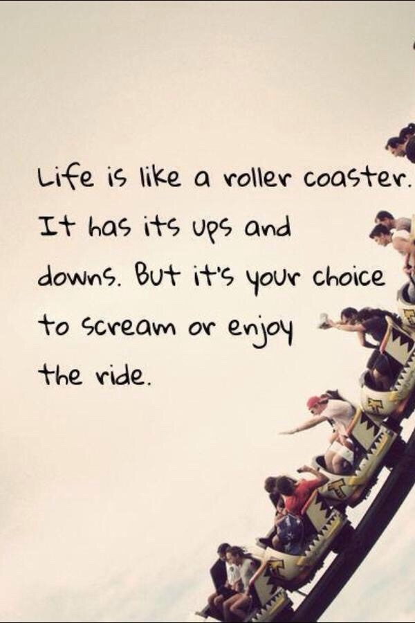 Life is like a roller coaster it has its ups and downs but its your choice to scream or to