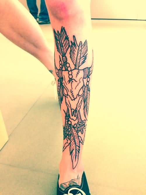 Men Show Awesome Deer Skull And Small Arrow Tattoo On Leg