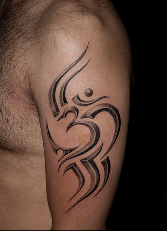 Tribal Om Sign Tattoo On Men Half Sleeve
