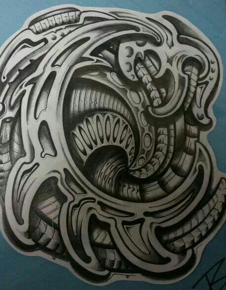 39biomechanical tattoo idea