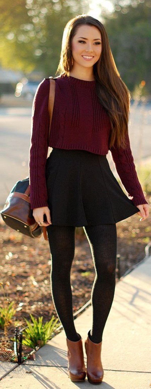 Black-mini-skater-skirt