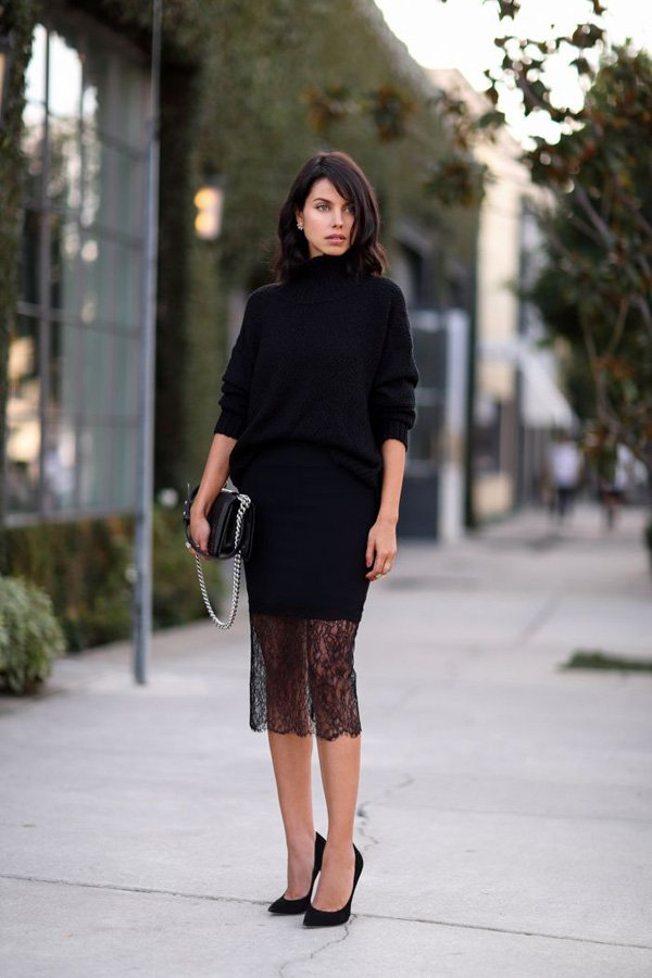 Generous-black-sweater-with-lace-long-skirt