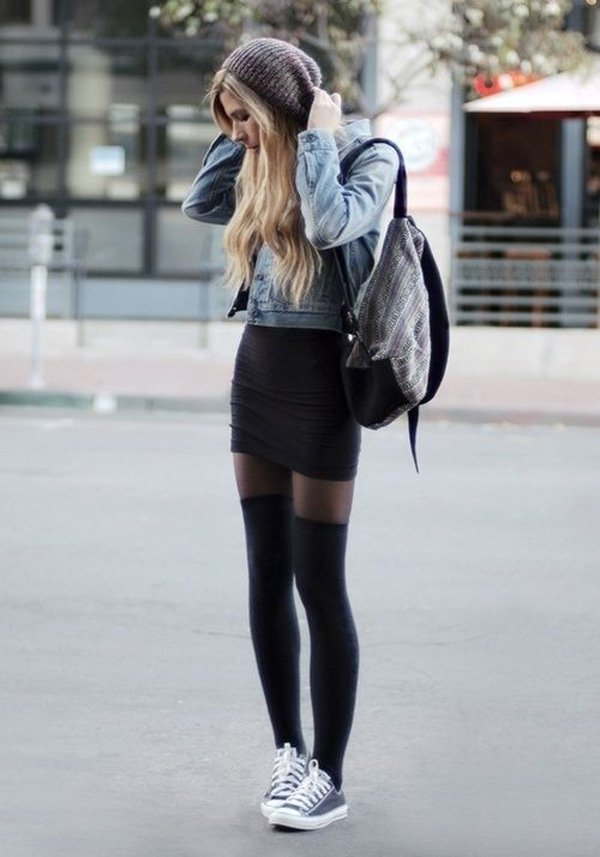denim-jacket-with-black-skirt-coupled-with-canvas-shoes-casual-style-for-fall
