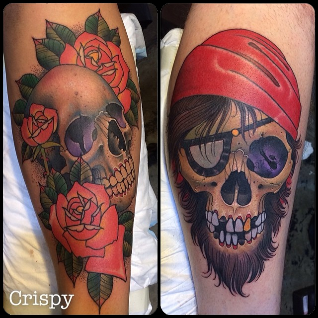 3D Skull With Roses Tattoo On Right Leg Calf By Crispy Lennox