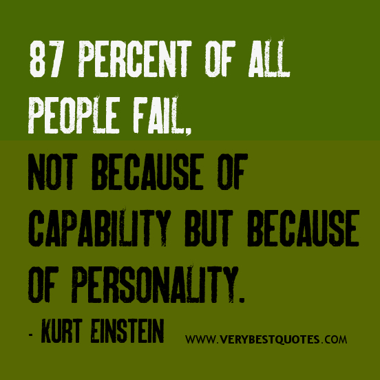 87 percent of all people fail, not because of capability but because of personality. Kurt Einstein