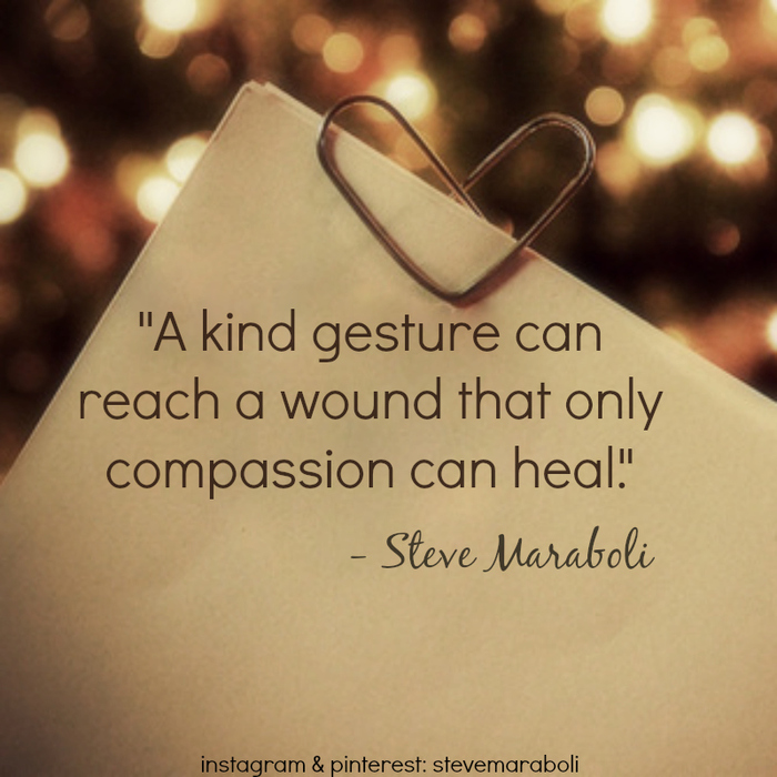 A kind gesture can reach a wound that only compassion can heal. Steve Maraboli