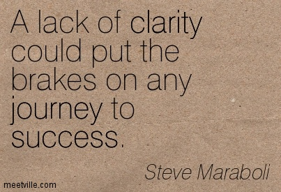 A lack of clarity could put the brakes on any journey to success. Steve Maraboli