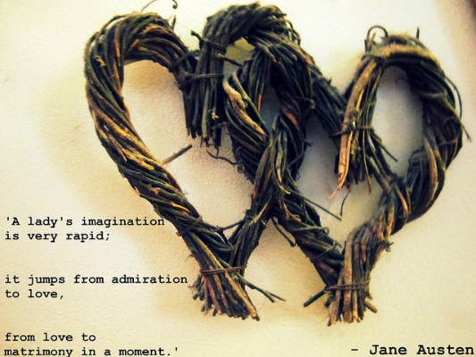 A lady's imagination is very rapid; it jumps from admiration to love, from love to matrimony in a moment - Jane Austen
