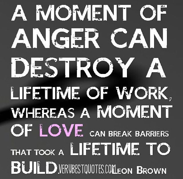 A moment of anger can destroy a lifetime of work, whereas a moment of love can break barriers that took a lifetime to build. Leon Brown