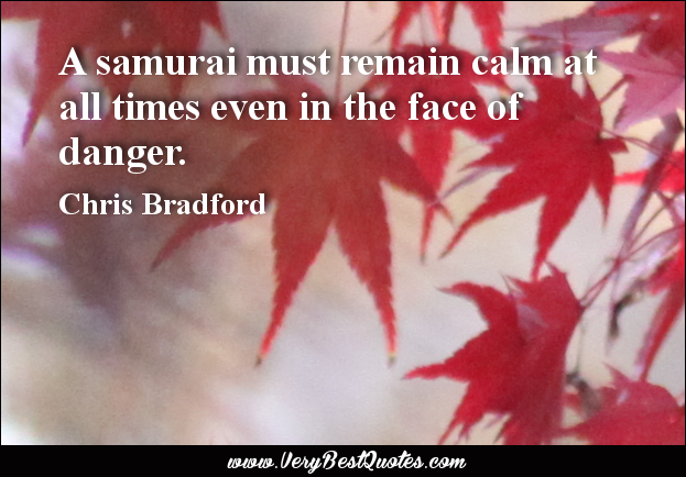 A samurai must remain calm at all times even in the face of danger. Chris Bradford