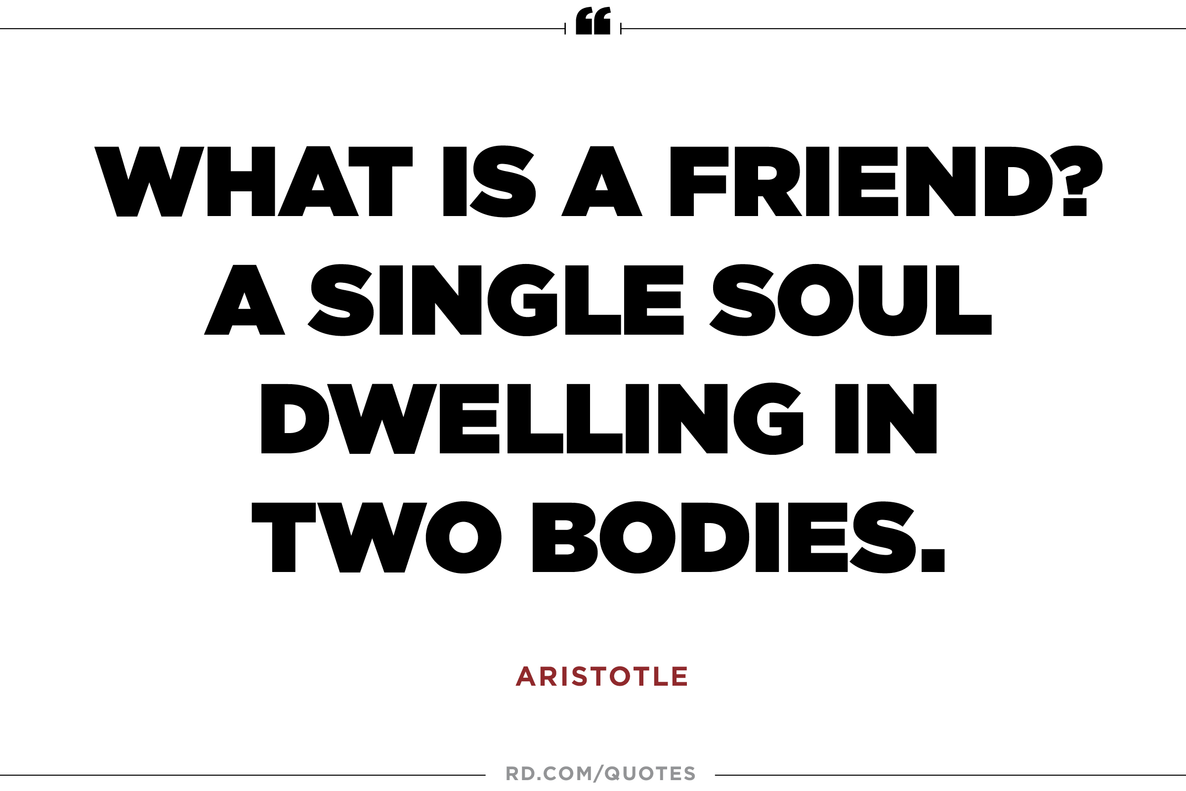 A single soul dwelling in two bodies. Aristotle