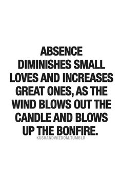 Absence diminishes small loves and increases great ones, as the wind blows out the candle and fans the bonfire.