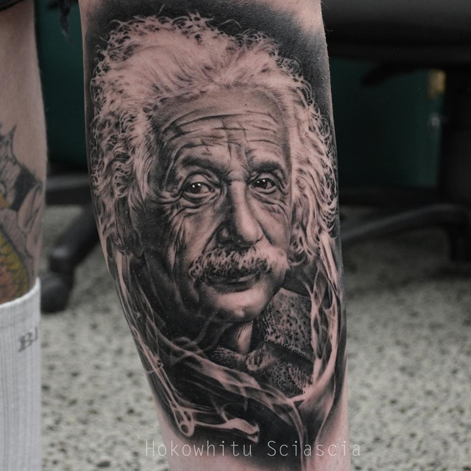Albert Einstein Portrait Tattoo On Sleeve By Hokowhitu Sciascia