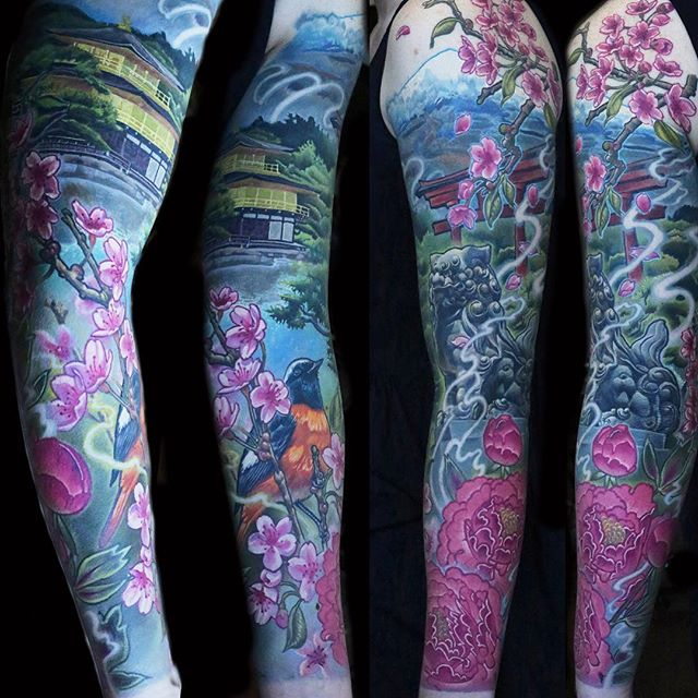 Amazing Colorful Japanese Temple With Foo Dog Tattoo On Left Full Sleeve By Frederick Bain