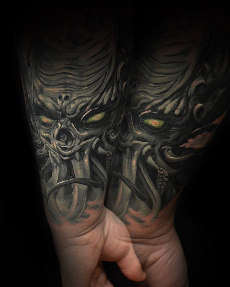 Amazing Monsters Tattoo On Left Wrist By Hokowhitu Sciascia