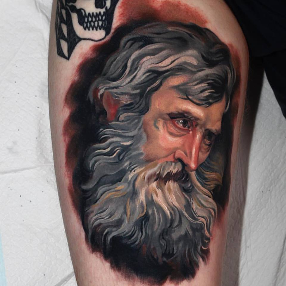 Anthony Van Dyck Portrait Tattoo Design For Thigh By Crispy Lennox