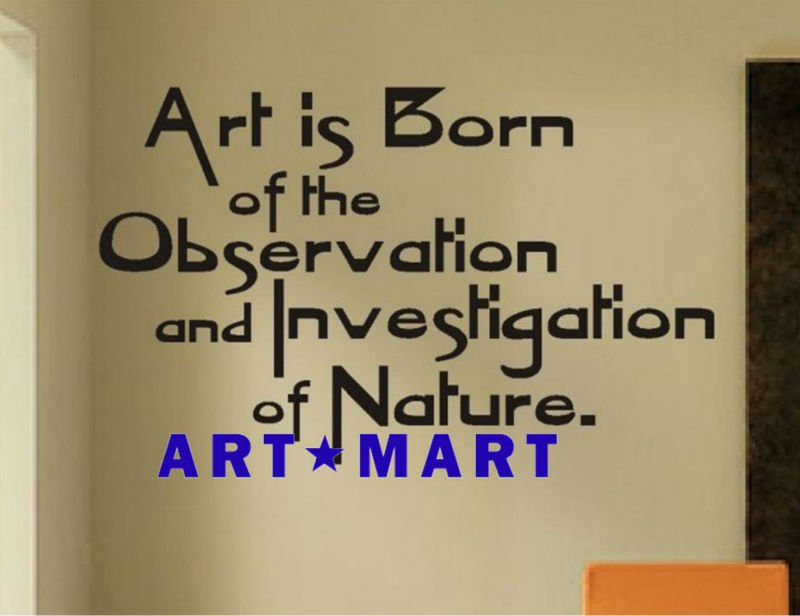 Art is born of the observation and investigation of nature.