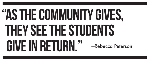 As the community gives, they see the students give in return. Rebecca Peterson