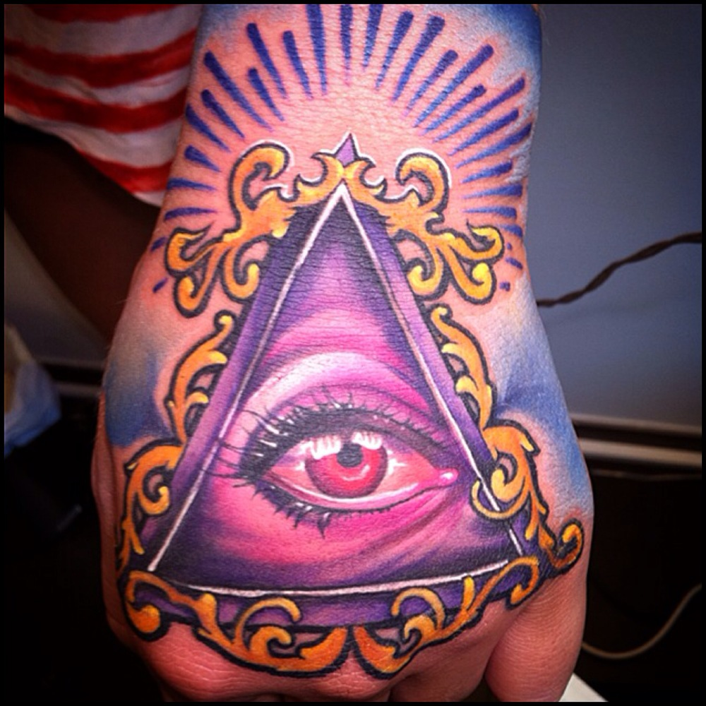 Attractive 3D Illuminati Eye Tattoo On Left Hand By Fabz