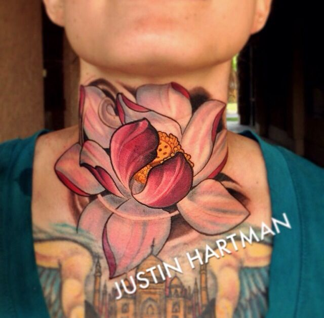 Attractive 3D Lotus Flower Tattoo On Neck by Justin Hartman