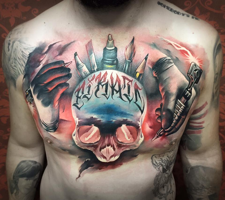 Attractive 3D Skull Tattoo On Man Chest By Benjamin Laukis