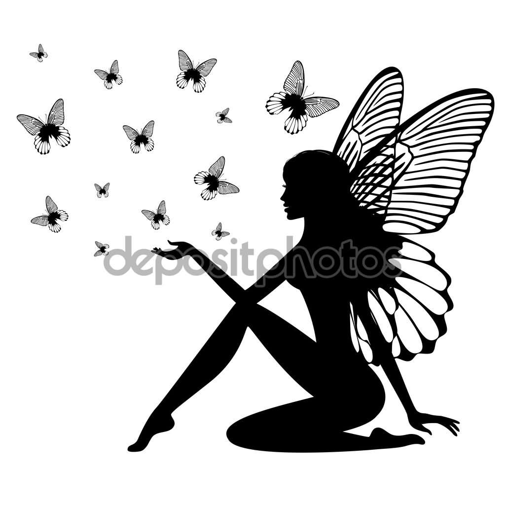 Attractive Black Fairy With Flying Butterflies Tattoo Design